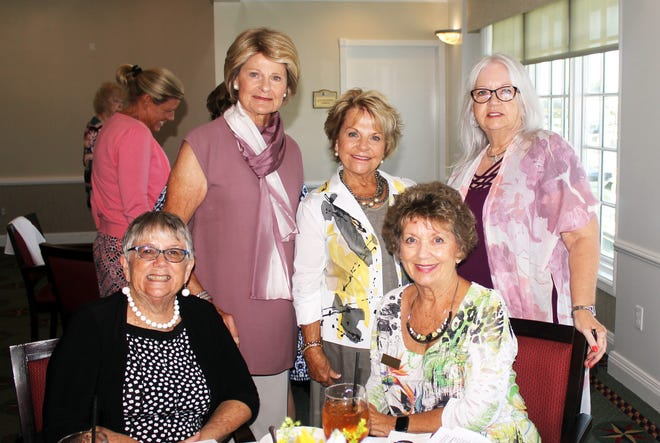 Looking forward to a delicious lunch are Joan Husband, Helen Shavlich, Cookie Bergen, Susan Sharles and Jacky Childress.