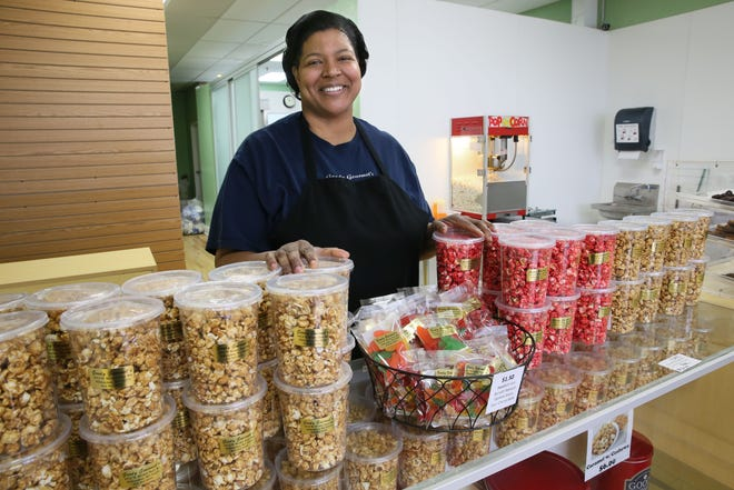 Jackie Chesser is planning to celebrate the grand opening of Goody Gourmets in Glendale this summer. The popcorn shop is accepting curbside pickup orders at goodygourmets.com