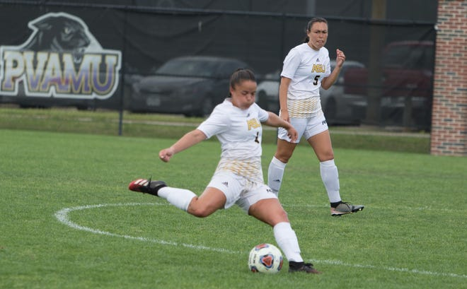 Alabama State women's soccer midfielder McKenna Lupori (No. 4) makes a play on the ball during a game.