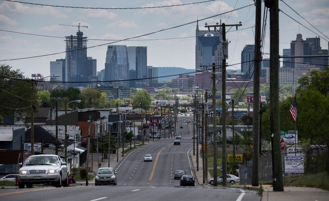 A view down Dickerson Pike Monday, April 19, 2021 in Nashville, Tenn. Software giant Oracle is pursuing a $1.2 billion investment in a 65-acre parcel of land on the East Bank of the Cumberland River. The new development could bring major development along Dickerson Rd.