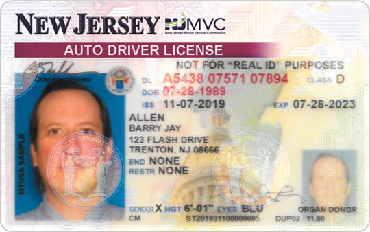 """A sample of the addition of an """"X"""" gender option on New Jersey driver licenses and non-driver identification cards."""