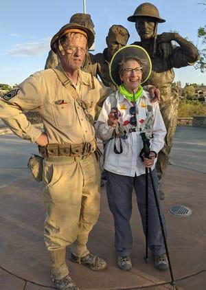 Mike Bilbo and Janice Tucker complete their 2021 Bataan Memorial Death March Saturday, April 17, 2021 at Veterans Memorial Park in Las Cruces.