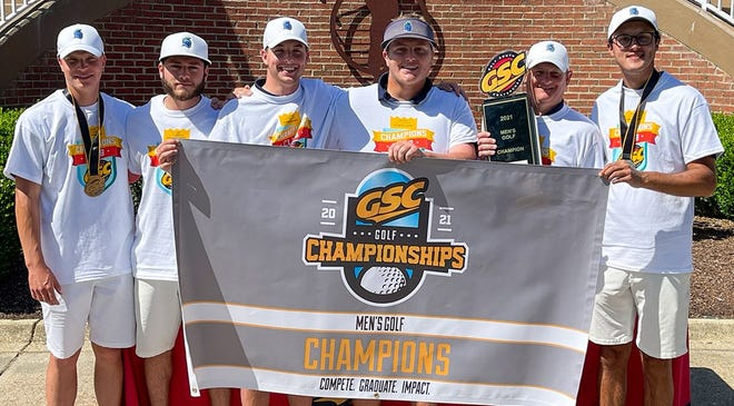 The University of West Florida men's golf team celebrates its record-breaking win at the Gulf South Conference Championships on April 19, 2021 in Mobile, Alabama.