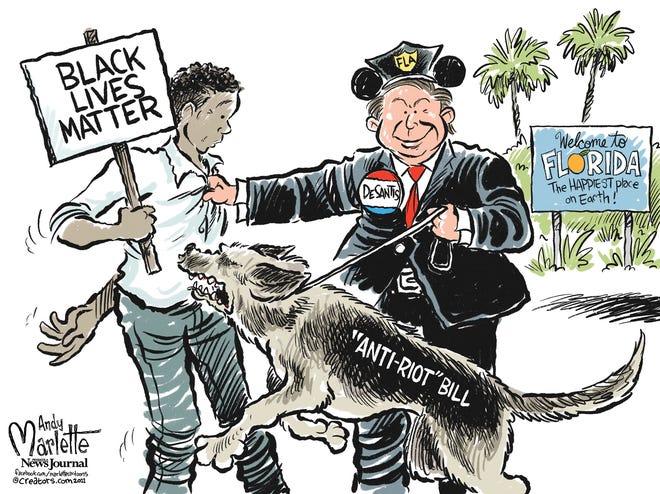 "Marlette cartoon: Gov. Ron DeSantis sending a message with his so-called ""anti-riot"" bill."