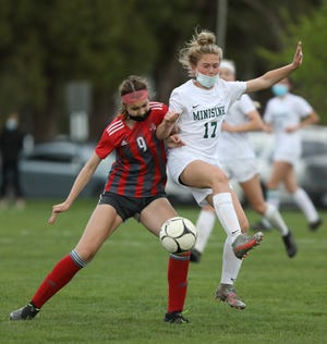 Red Hook's Grace Hennig plays in the the Section 9 Class A girls soccer final on April 19. She was voted Poughkeepsie Journal Player of the Week.