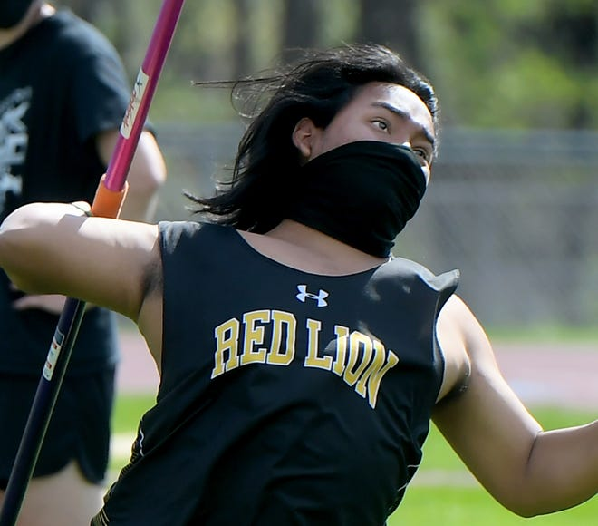 Red Lion's Allen Engle competes in the javelin during a track and field meet with South Western at Red Lion Tuesday, April 20, 2021. Bill Kalina photo