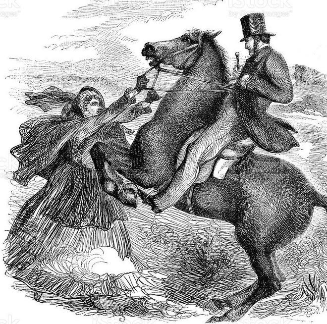 Vintage engraving from 1862 showing an angry woman grabbing the reins of a man's horse