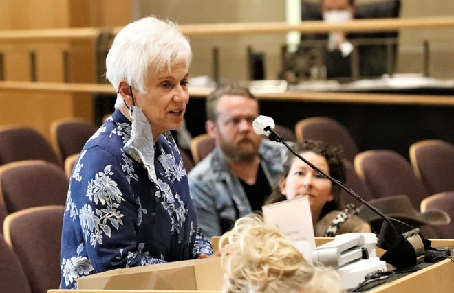 Judy Salter speaks in support of Supervisors Mary Rickert, Joe Chimenti and Leonard Moty during the public comment period at the Shasta County Board of Supervisors meeting on Tuesday, April 20, 2021. Rickert, Chimenti and Moty are the targets of a recall effort.