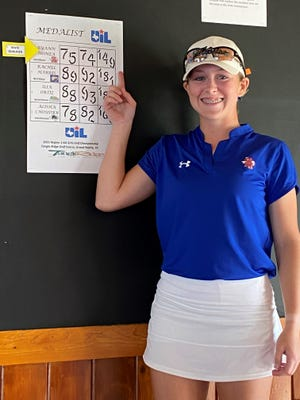 San Angelo Central High School's Ryann Honea shows off her scores after Day 2 of the Region I-6A Girls Golf Tournament in Grand Prairie on Tuesday, April 20, 2021.