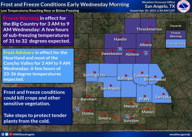 San Angelo under frost advisory according to the National Weather Service.