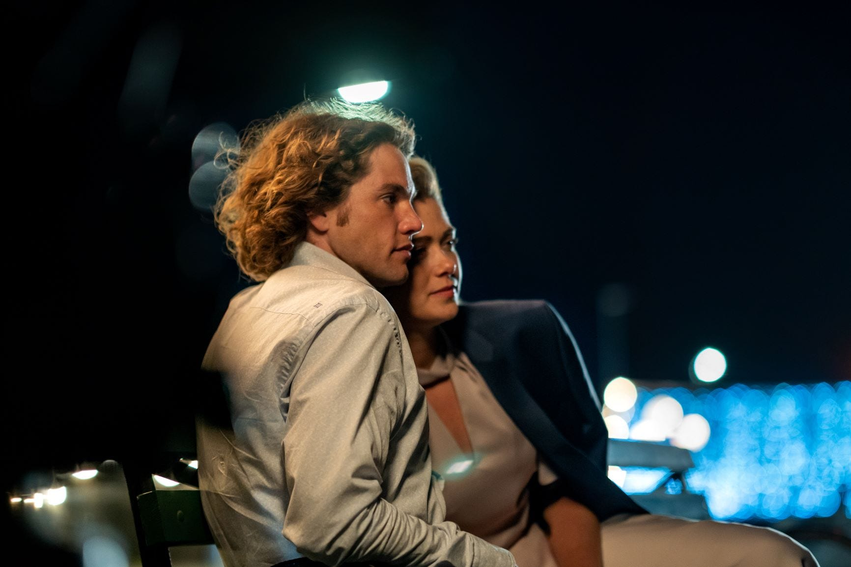 """Jedidiah Goodacre, left, and Rose Reid fall in love in """"Finding You."""""""