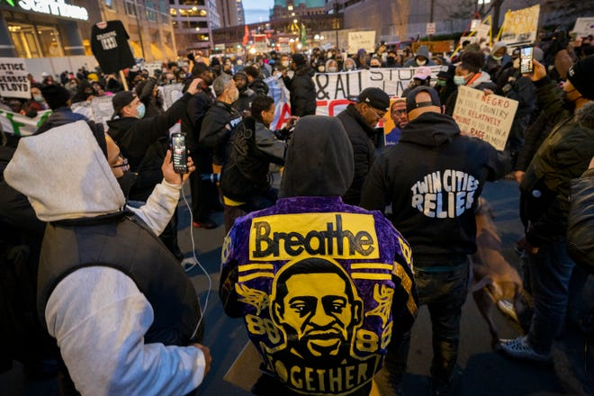 Residents of Minneapolis marched during jury deliberations in the trial of former Officer Derek Chauvin, who on Tuesday was found guilty of second-degree murder, third-degree murder and second-degree manslaughter in the death of George Floyd. Floyd died on May 25, 2020 while in police custody. A video showing Derek Chauvin kneeling on George Floyd's neck sparked world wide protests against police brutality.