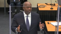 In this image from video, prosecutor Jerry Blackwell, gives a rebuttal during closing arguments as Hennepin County Judge Peter Cahill presides Monday, April 19, 2021, in the trial of former Minneapolis police Officer Derek Chauvin, in the May 25, 2020, death of George Floyd at the Hennepin County Courthouse in Minneapolis, Minn. (Court TV via AP, Pool) ORG XMIT: CER220