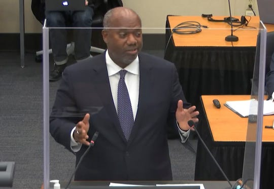 """Attorney Jerry Blackwell, seen delivering the prosecution rebuttal during closing arguments in the Derek Chauvin trial Monday, told jurors to """"believe your eyes"""" when watching the video of Chauvin kneeling on George Floyd, who died last May while in police custody."""