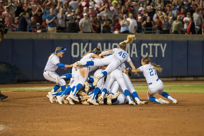 The UCLA Bruins celebrate winning the 2019 NCAA Women's College World Series, which is held annually in Oklahoma City.
