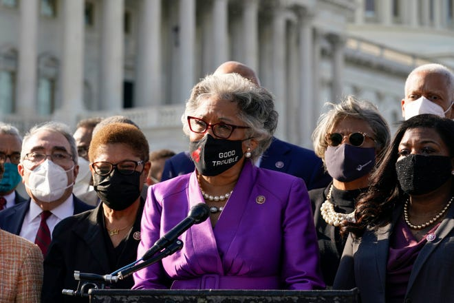 Rep. Joyce Beatty, D-Ohio, speaks as other members of the Congressional Black Caucus listen outside the U.S. Capitol after the jury reached a verdict in the murder trial of Derek Chauvin.