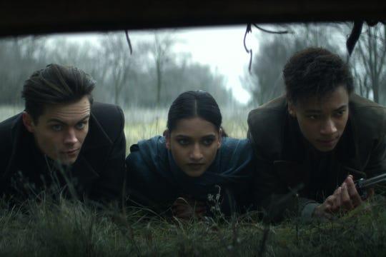 "Freddy Carter as Kaz Brekker, Amita Suman as Inej Ghafa and Kit Young as Jesper Fahey on ""Shadow and Bone."""