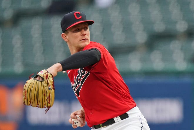 Cleveland starting pitcher Zach Plesac delivers in the first inning in a baseball game against the Chicago White Sox, Tuesday, April 20, 2021, in Cleveland. [Tony Dejak/Associated Press]