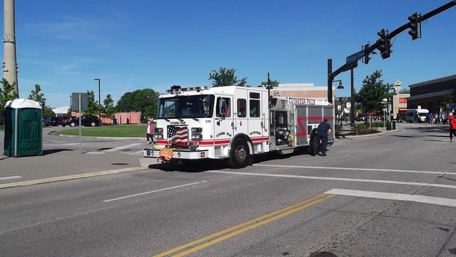 A Cuyahoga Falls Fire engine is pictured at the Memorial Day parade in 2019. Due to COVID-19, the event has been canceled for the second consecutive year.