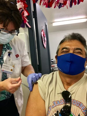 South Texas resident Artemio Villarreal received his Phizer COVID-19 vaccine at REAL INC. in Alice, Texas.