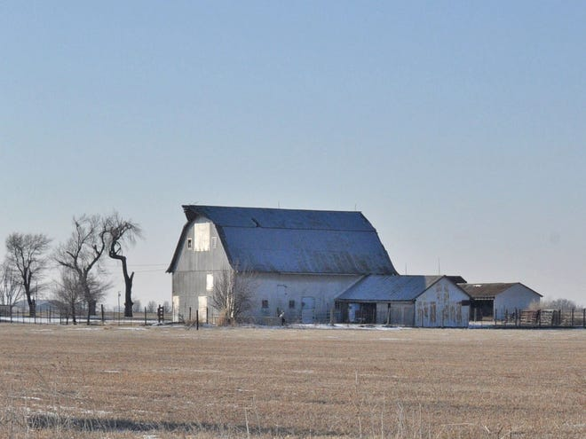 Old barn on a frosty morning.