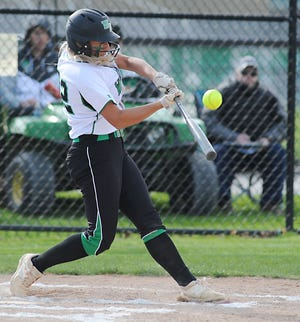 Sydney Mercer had a pair of hits in West Branch's 5-3 win over Aurora in Tuesday's Division II district semifinal game.