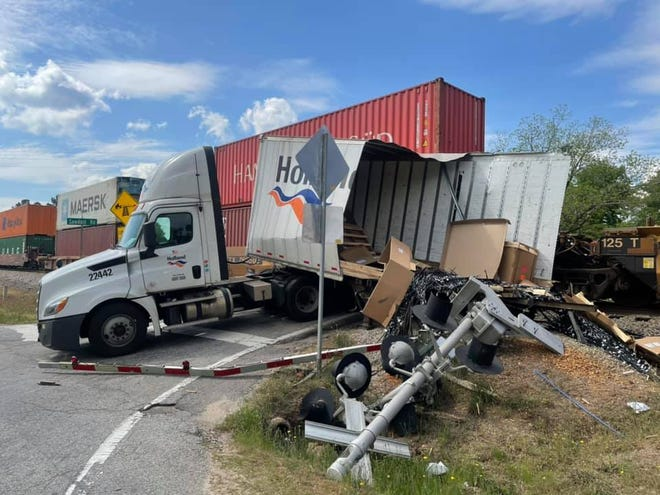 A train collided with a semi-truck near Gordon Highway in Harlem, Ga. on April 20, 2021.