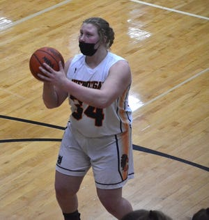Cheboygan senior center Isabelle Buhr (34) secured a spot on the All-Straits Area Conference girls basketball first team.
