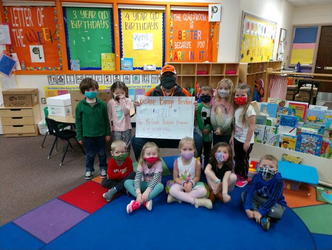 Cronk received the funds, totaling more than $4,700, on Monday morning from the students in the preschool program.