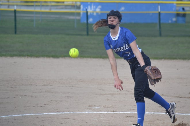 Mackinaw City's Marlie Postula fires a pitch against Ellsworth during a varsity softball game from the 2019 season. Postula, now a sophomore, will be the top pitcher for the Comets this spring. The Comets will be coached by former Pellston coach Emma Cook, who is in her first season.