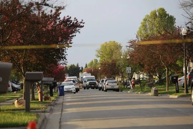 The scene on Legion Lane following a fatal police shooting