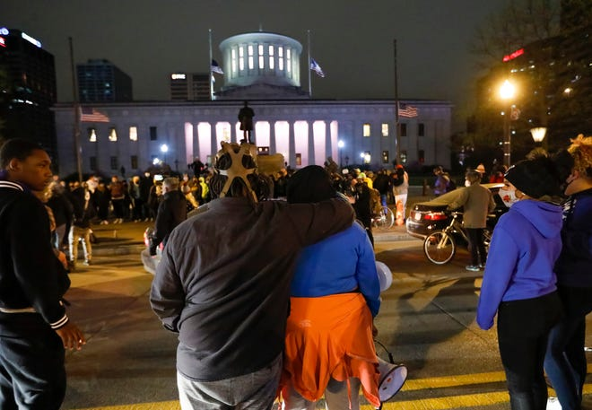 Following the guilty verdict of Derek Chauvin in the killing of George Floyd and the subsequent the death of 16-year-old Ma'Khia Bryant in a Columbus Police-involved shooting, protesters gather outside the Ohio Statehouse in downtown Columbus on Tuesday, April 20, 2021.