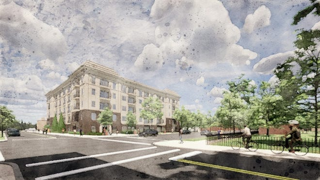 Topiary Park Crossing, shown in a rendering, would include more than 90 apartments designed to be affordable.