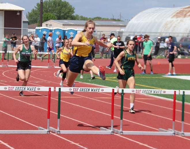 Senior Emma Borowicz competed at the state tournament in the 300-meter hurdles in 2019.