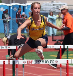 Breanna Kressin competes in the Section 8A meet during the 2019 season. Kressin claimed victory in the 100-meter hurdles during Thursday's meet in East Grand Forks.