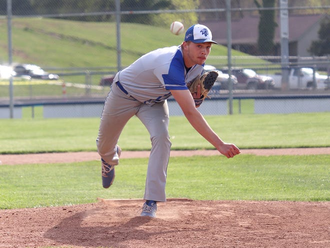 Buckeye Trail sophomore Garrett Burga fires a pitch during Tuesday's 5-0 victory over visiting Bridgeport in Old Washington.  Burga finished with a complete game two-hit shutout to record the pitching win.