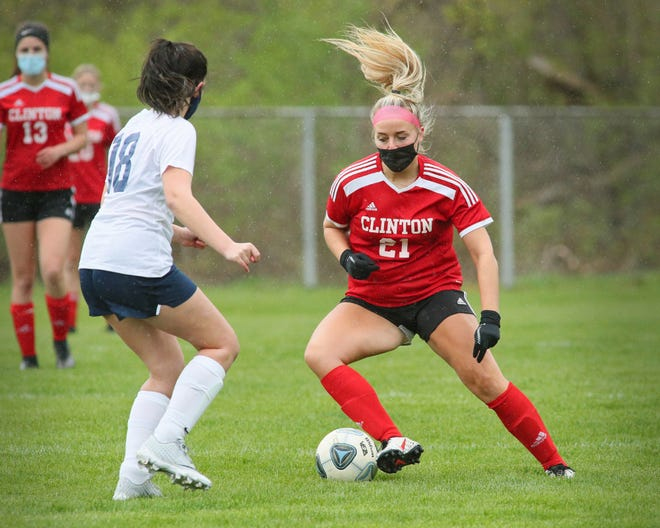 Clinton's Madalyn Freitas handles the ball during Monday's game against Hillsdale.