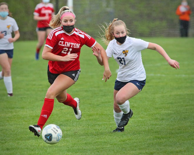 Clinton junior Madalyn Freitas pushes the ball up the field during an LCAA game against Hillsdale on Monday, April 19. Freitas' record-setting 63-goal effort has secured her her second-straight Lenawee County Girls Soccer Player of the Year award.