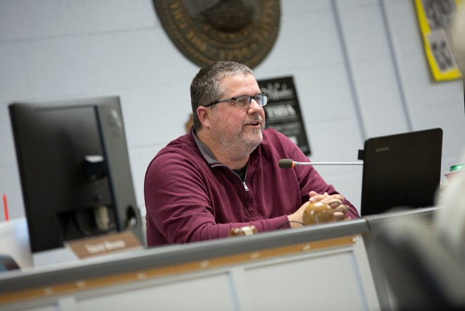 School board chairman Michael Fulbright, District 4 attends a school board meeting at Horace O. Porter School in Columbia, Tenn., on Tuesday, April 20, 2021.