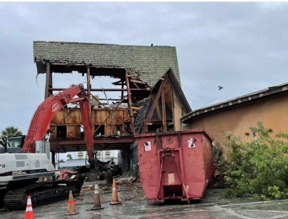 Demolition of the old Julian's Dining Room & Lounge on A1A in Ormond Beach is underway on Monday, April 19, 2021. The seafood/steakhouse closed in 2012. It is being torn down to make way for an Ocean Club beachwear and gift shop. The restaurant's distinctive A-frame and Polynesian decor made it a local landmark for nearly a half-century, dating back to its opening in 1967.