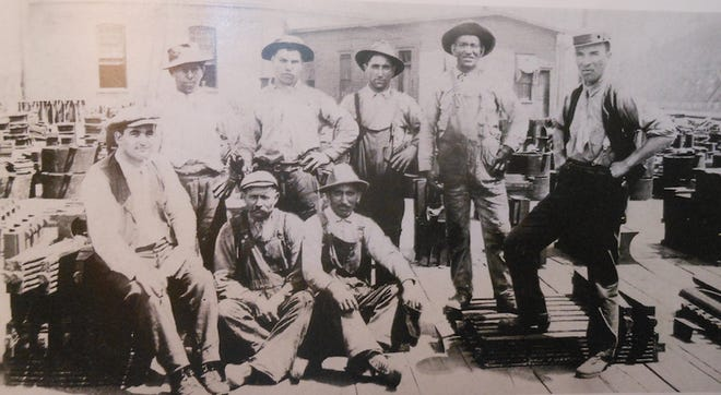 D&H employees pose for a picture in Carbondale in the early 1900's. The first man on the left is Frank Scalzo. Can anyone help in identifying any of the others?