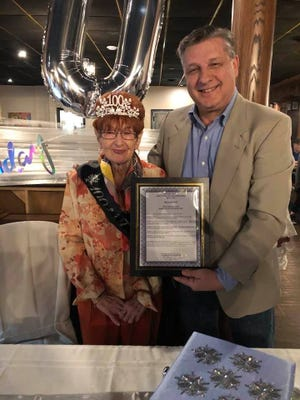 Ellwood City resident Madeline (Molly) Lendick celebrated her 100th birthday last week at a surprise party attended by Mayor Anthony Court. Court presented Lendick with a proclamation at the event naming April 25, 2021, Madeline Lendick's Day.
