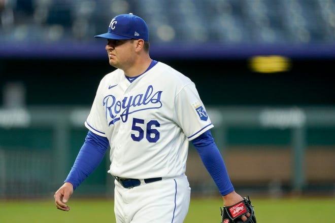 Kansas City Royals starting pitcher Brad Keller walks to the dugout after coming out of the game during the second inning of Tuesday's game against the Tampa Bay Rays. Keller allowed five runs in 1 2/3 innings as the Royals fell 14-7.