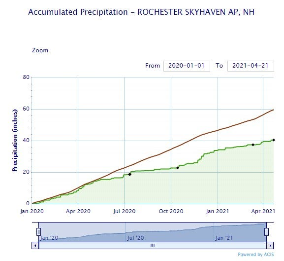 """The green line on the National Weather Service graph illustrates total accumulation of precipitation recorded at Skyhaven Airport in Rochester since Jan. 1, 2020. The brown line shows the average amount of precipitation during the same period. The current precipitation deficit is 19 inches leading to """"concerningly low levels"""" to the City of Dover's drinking water aquifers."""