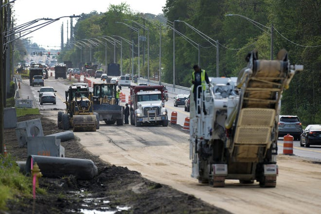 The Jacksonville Transportation Authority has used a local gas tax to pay for roadwork like this widening of Collins Road on Jacksonville's Westside. City Council members could vote this month on legislation to increase and extend that tax.