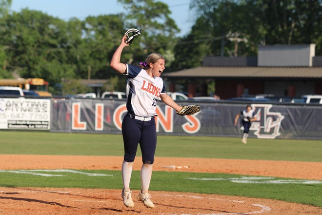 Ascension Christian pitcher Maddie Gautreau celebrates after collecting the final out in the Lady Lions' historic playoff victory.