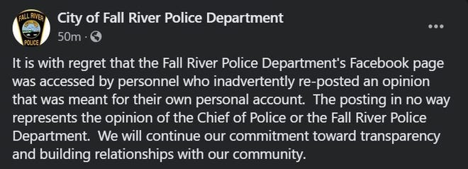 A screenshot of a post from Fall River Police Department in reference to a previous post that has since been deleted.
