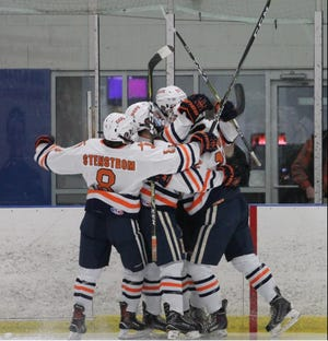 Hope hockey celebrates a goal