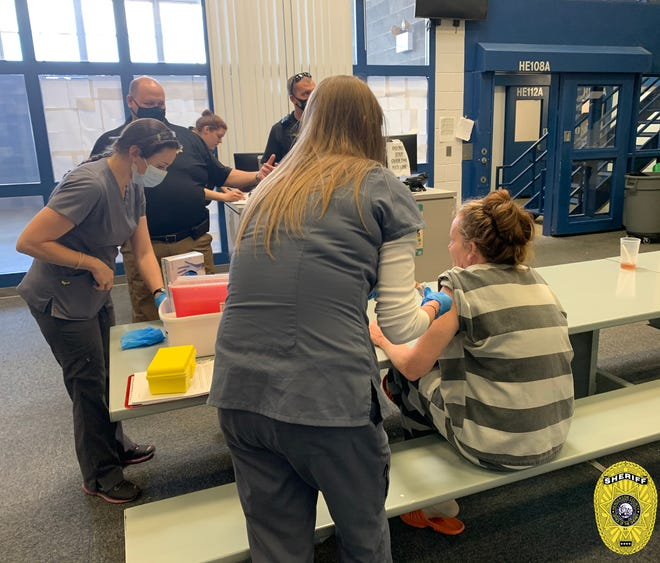 On Monday, April 19, the Henderson County Sheriff's Office, Henderson County Health Department and The Free Clinics vaccinated 55 of 152 inmates who requested to be immunized against COVID-19 while incarcerated in the Henderson County Detention Facility.
