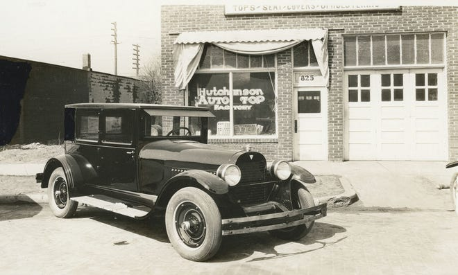 Oscar D. Nelson purchased the Auto Top Factory and moved it next door to 825 S. Main and renamed it to Hutchinson Auto Top Factory, shown here in 1930.